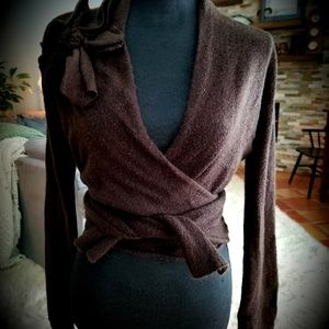 CAbi Brown Wrap Sweater Angora Blend